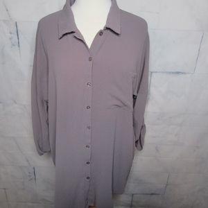 BooHoo Plus Textured Mauve Button Down Shirt
